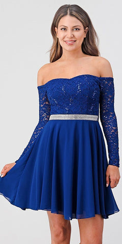 La Scala 25406 Off-Shoulder Long Sleeved Short Cocktail Dress Royal Blue