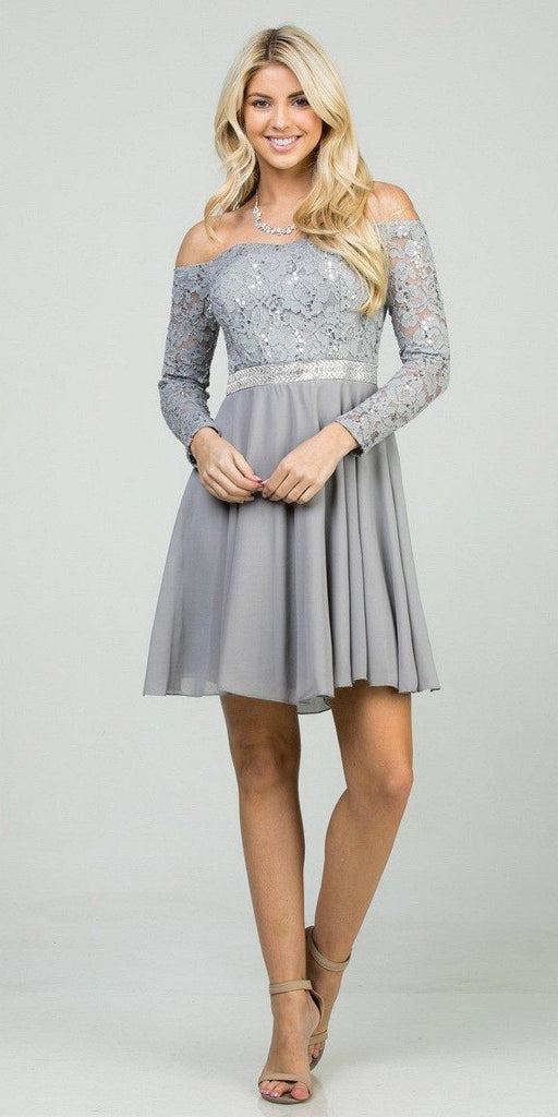 La Scala 25406 Off-Shoulder Long Sleeved Short Cocktail Dress Silver