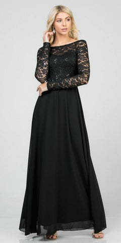 Lace Bodice A-Line Long Formal Dress Short Sleeves Mocha