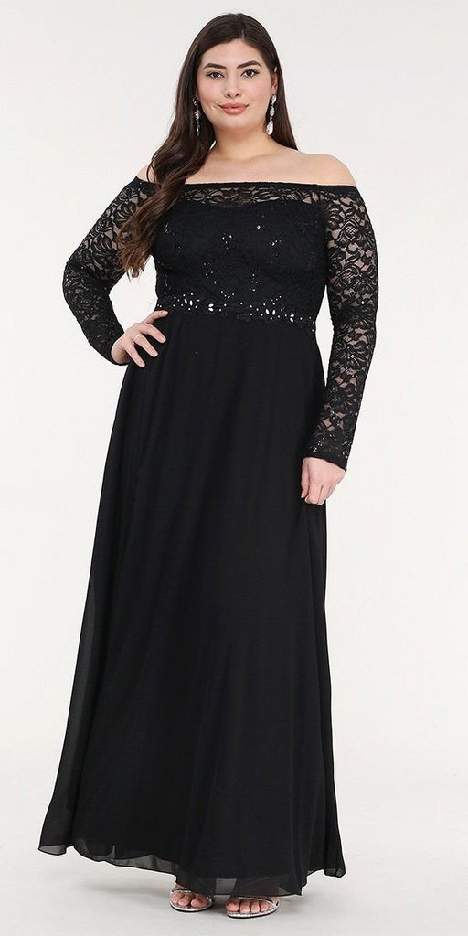 La Scala 25418 Plus Size Long Sleeved Lace Bodice A-Line Long Formal Dress Black