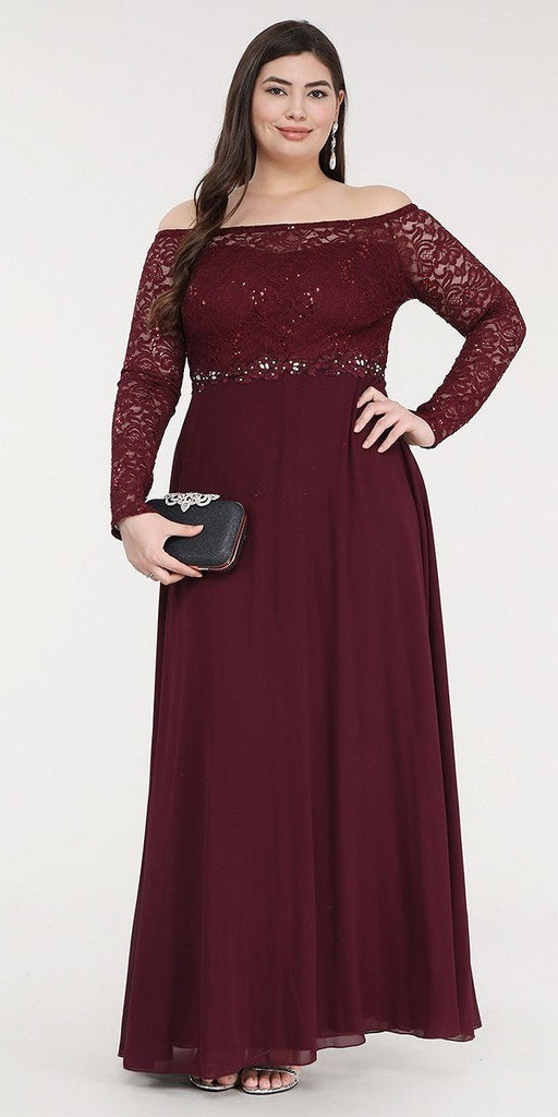 La Scala 25418 Plus Size Long Sleeved Lace Bodice A-Line Long Formal Dress Burgundy