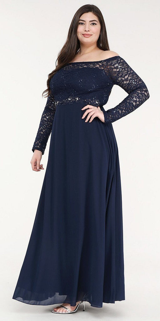 La Scala 25418 Plus Size Long Sleeved Lace Bodice A-Line Long Formal Dress Navy Blue