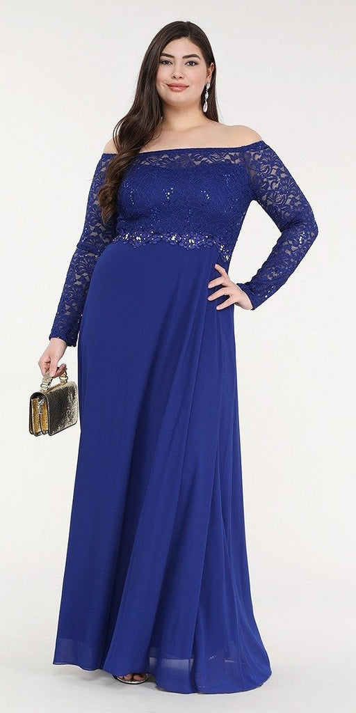La Scala 25418 Plus Size Long Sleeved Lace Bodice A-Line Long Formal Dress Royal Blue