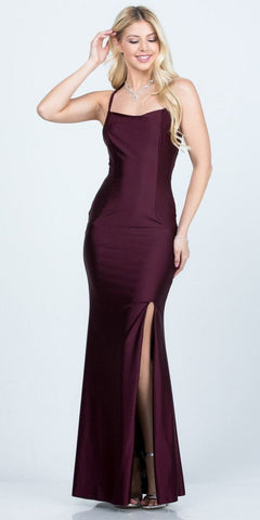 Dark Burgundy Long Formal Dress Cut-Out Back with Slit