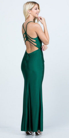 Hunter Green Long Formal Dress Cut-Out Back with Slit