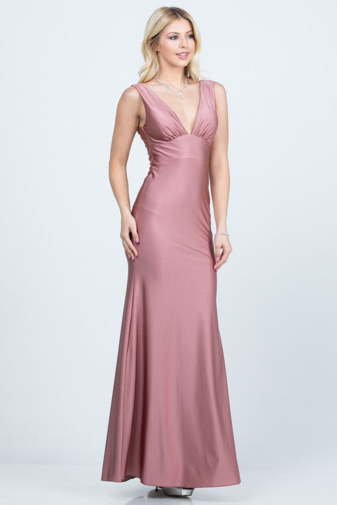 V-Neck and Back Mermaid Long Formal Dress Ash Rose