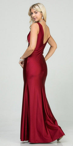 V-Neck and Back Mermaid Long Formal Dress Burgundy