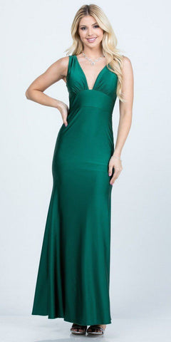 V-Neck and Back Mermaid Long Formal Dress Hunter Green
