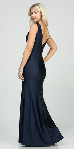 V-Neck and Back Mermaid Long Formal Dress Navy Blue