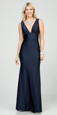 Embellished Waist Plunging V-Neck Royal Blue Satin Ball Gown A-Line