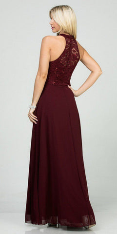Burgundy Halter Lace Top A-Line Long Formal Dress