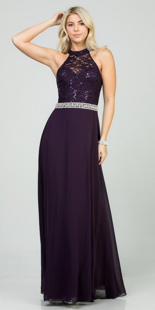 Eggplant Halter Lace Top A-Line Long Formal Dress