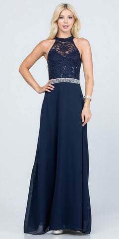 Navy Blue Halter Lace Top A-Line Long Formal Dress