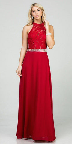Red Halter Lace Top A-Line Long Formal Dress