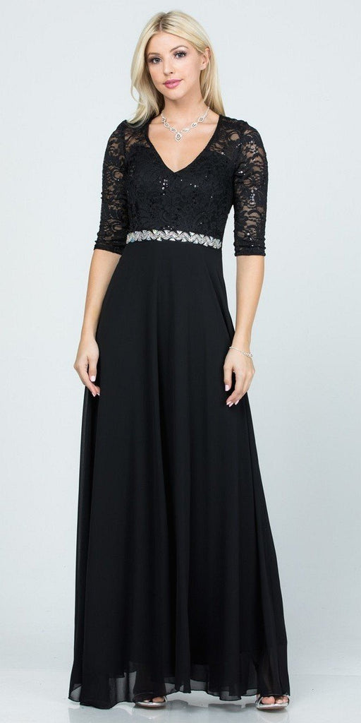 La Scala 25434 Long Evening Black Chiffon Dress Lace Mid-Length Sleeve