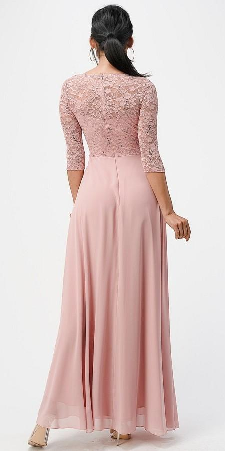 La Scala 25434 Long Evening Blush Chiffon Dress Lace Mid-Length Sleeve