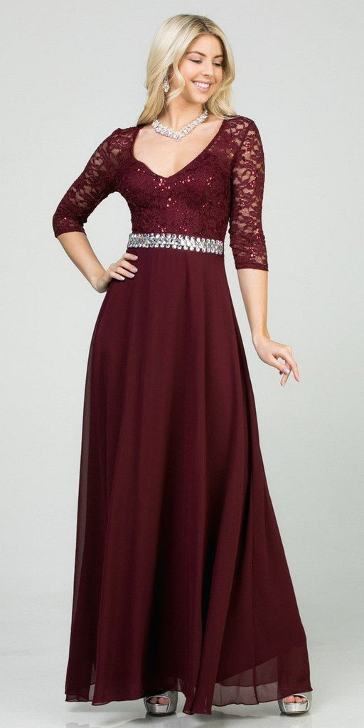 La Scala 25434 Long Evening Burgundy Chiffon Dress Lace Mid-Length Sleeve