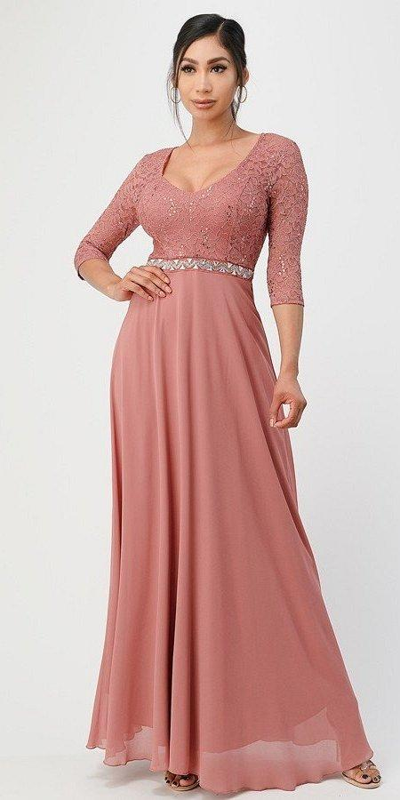 La Scala 25434 Long Evening Dark Mauve Chiffon Dress Lace Mid-Length Sleeve