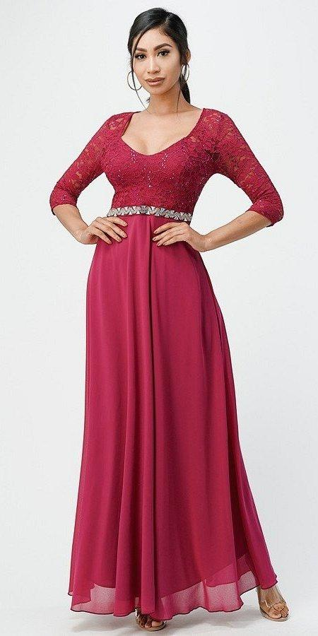 La Scala 25434 Long Evening Fuchsia Chiffon Dress Lace Mid-Length Sleeve