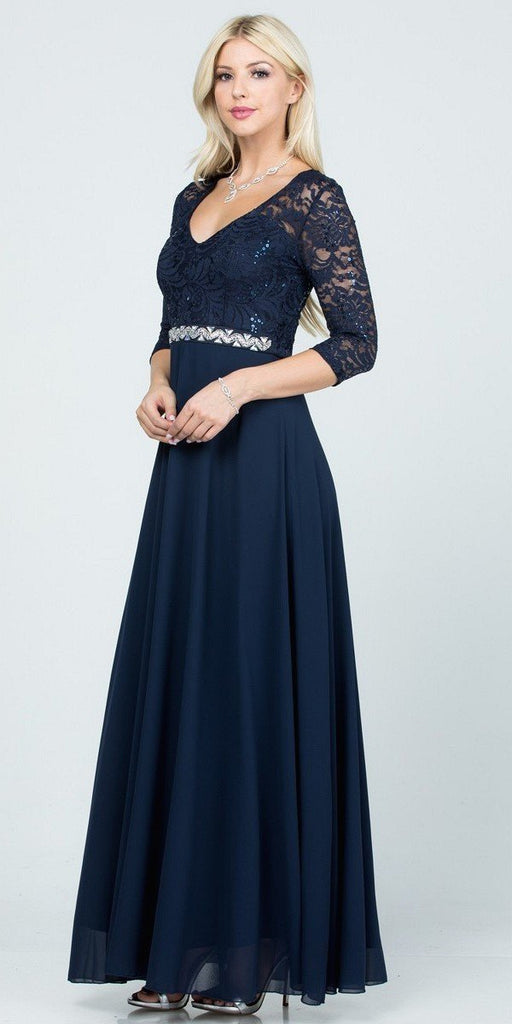 La Scala 25434 Long Evening Navy Blue Chiffon Dress Lace Mid-Length Sleeve