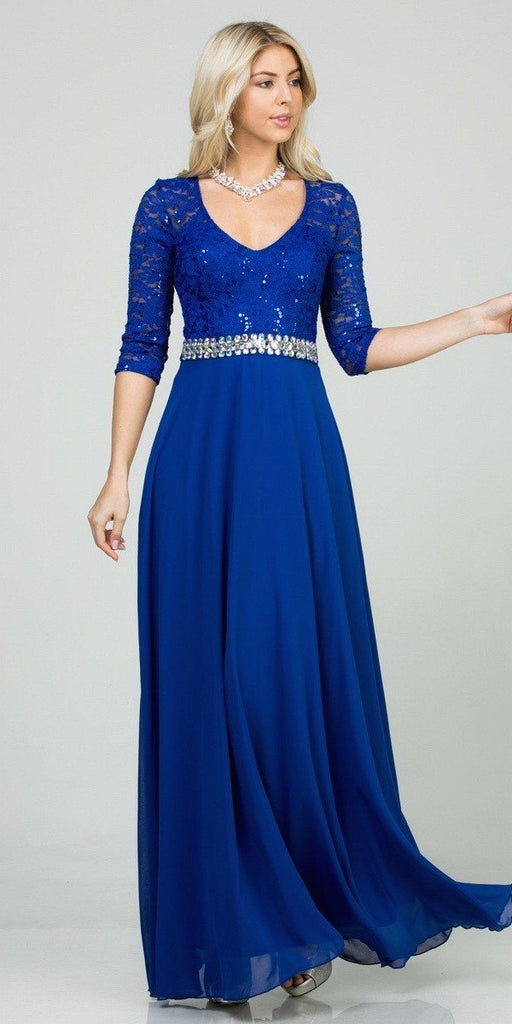 La Scala 25434 Long Evening Royal Blue Chiffon Dress Lace Mid-Length Sleeve