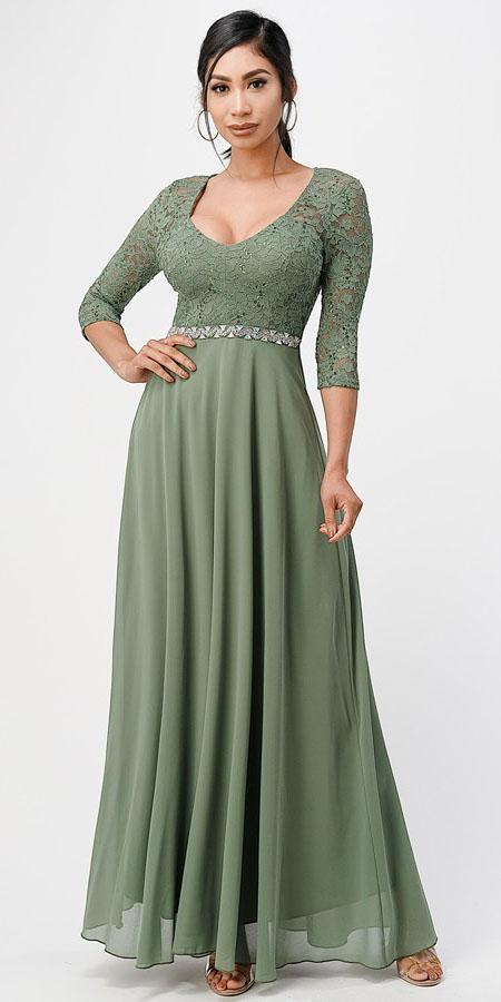 La Scala 25434 Long Evening Sage Green Chiffon Dress Lace Mid-Length Sleeve