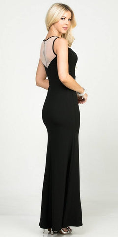 Mermaid Style Black Long Formal Dress Cut-Out Neckline