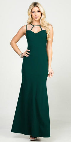 Green Gold Metallic A-line Long Prom Dress V-Neck and Back