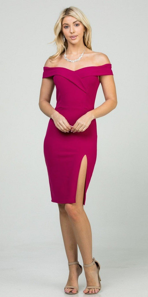 La Scala 25451 Berry Off-Shoulder Short Cocktail Dress with Slit