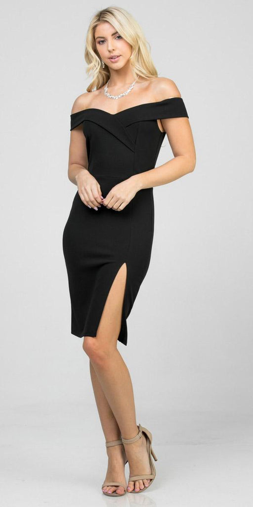 Black Off-Shoulder Short Cocktail Dress with Slit