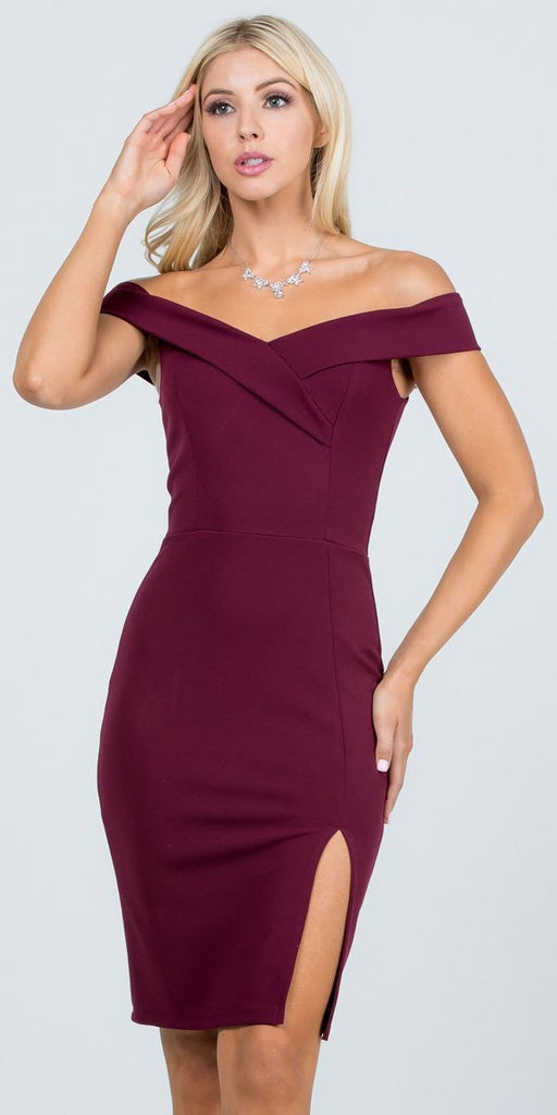 La Scala 25451 Burgundy Off-Shoulder Short Cocktail Dress with Slit