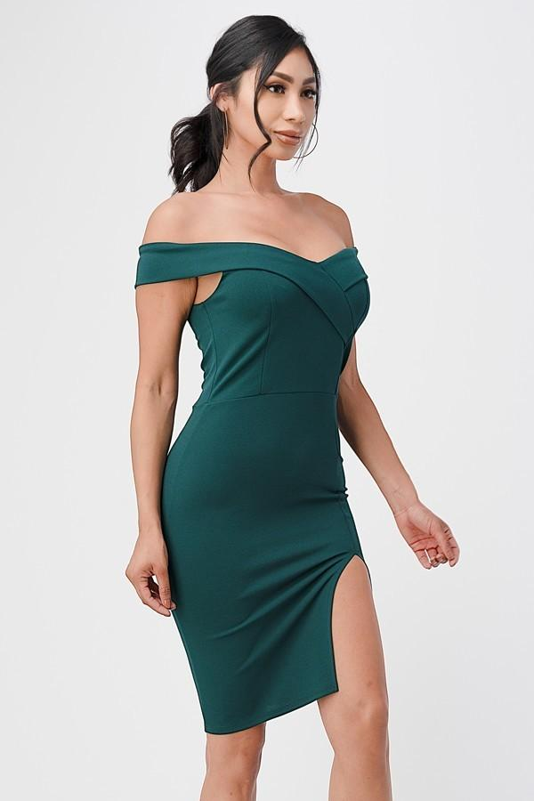 La Scala 25451 Hunter Green Off-Shoulder Short Cocktail Dress with Slit