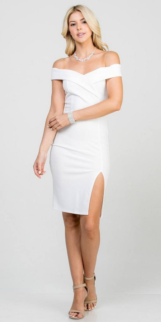Off White Off-Shoulder Short Cocktail Dress with Slit