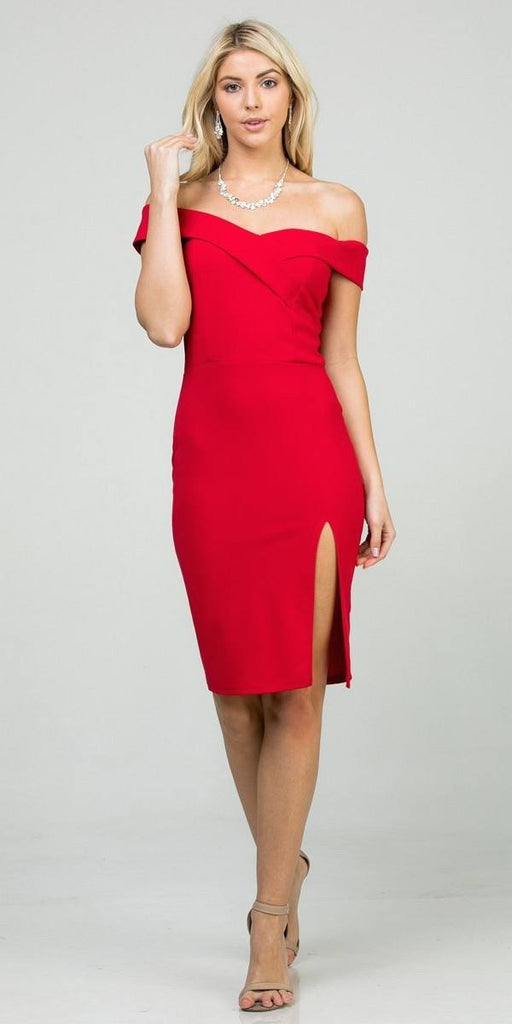 Red Off-Shoulder Short Cocktail Dress with Slit