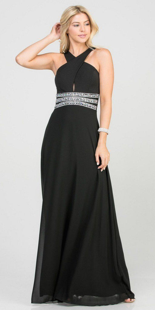 Black Halter Beaded Empire Waist Long Formal Dress