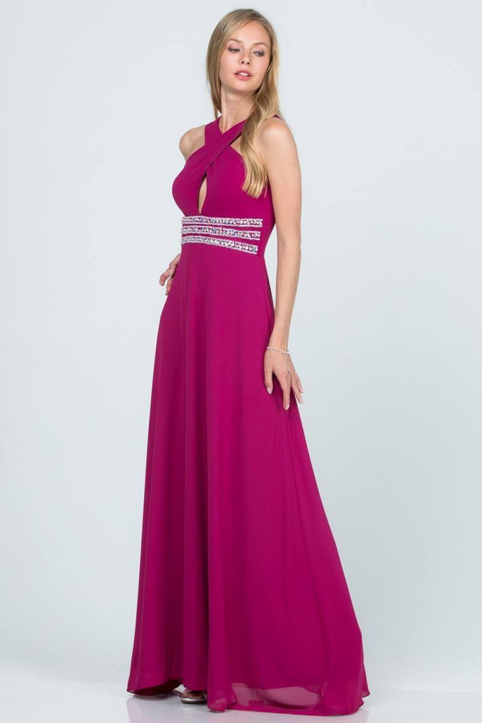 Fuchsia Halter Beaded Empire Waist Long Formal Dress