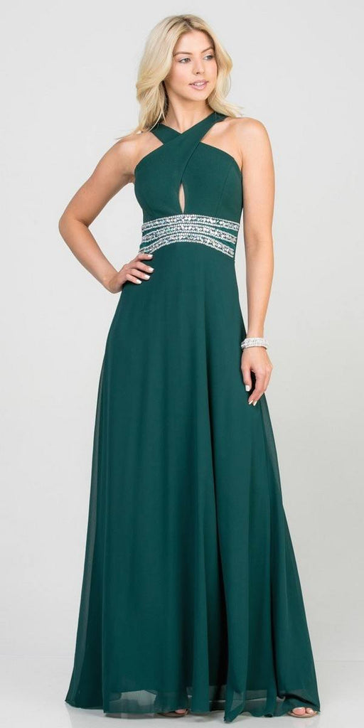 Hunter Green Halter Beaded Empire Waist Long Formal Dress