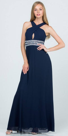 Navy Blue Halter Beaded Empire Waist Long Formal Dress