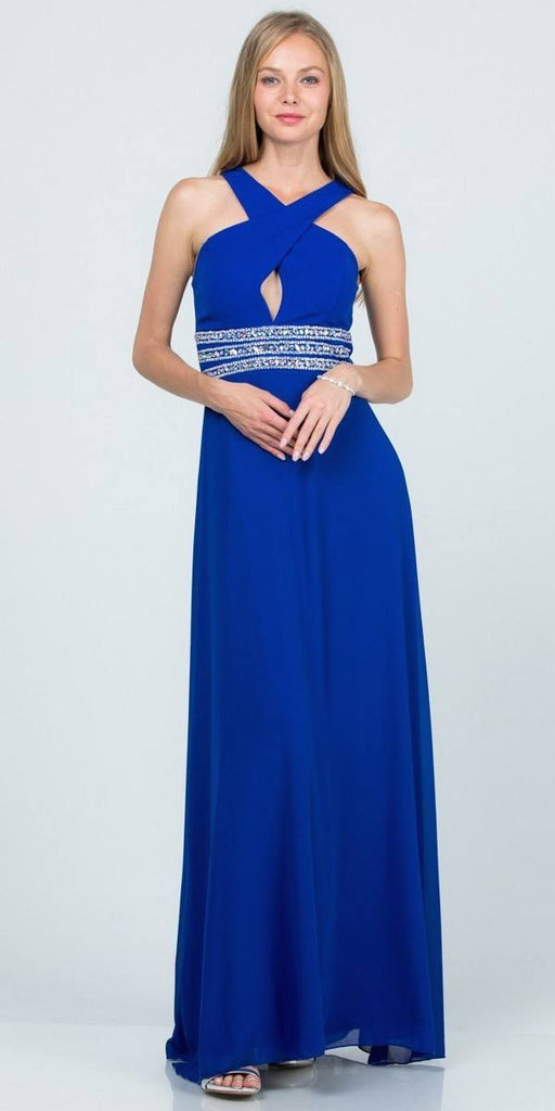 Royal Blue Halter Beaded Empire Waist Long Formal Dress