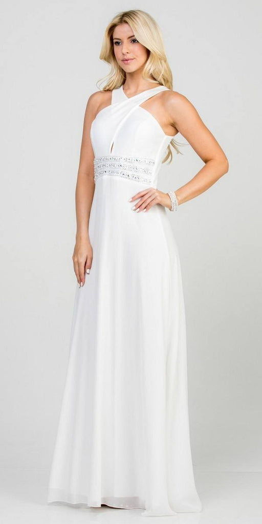 Off White Halter Beaded Empire Waist Long Formal Dress