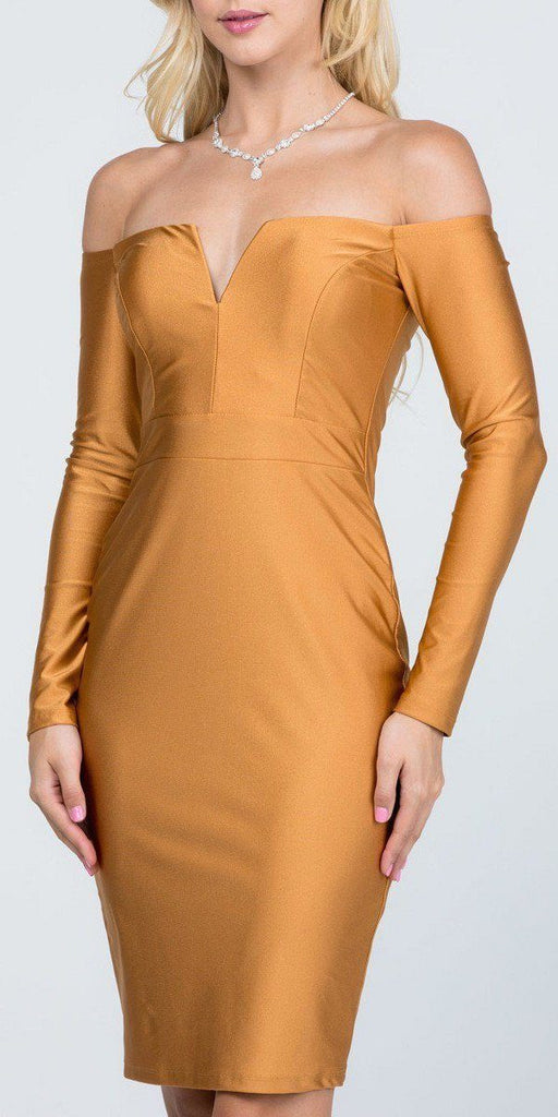 Long Sleeved Off-Shoulder Cocktail Short Dress Gold