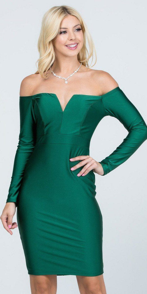 Long Sleeved Off-Shoulder Cocktail Short Dress Hunter Green