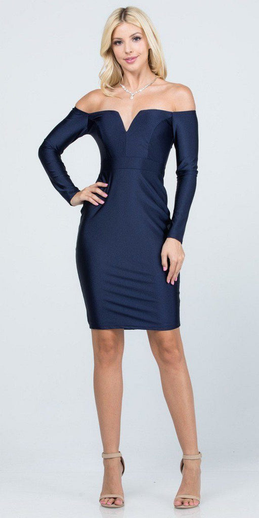 Long Sleeved Off-Shoulder Cocktail Short Dress Navy Blue