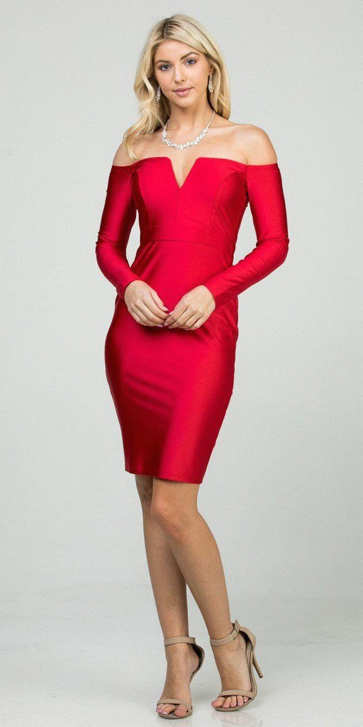 Long Sleeved Off-Shoulder Cocktail Short Dress Red