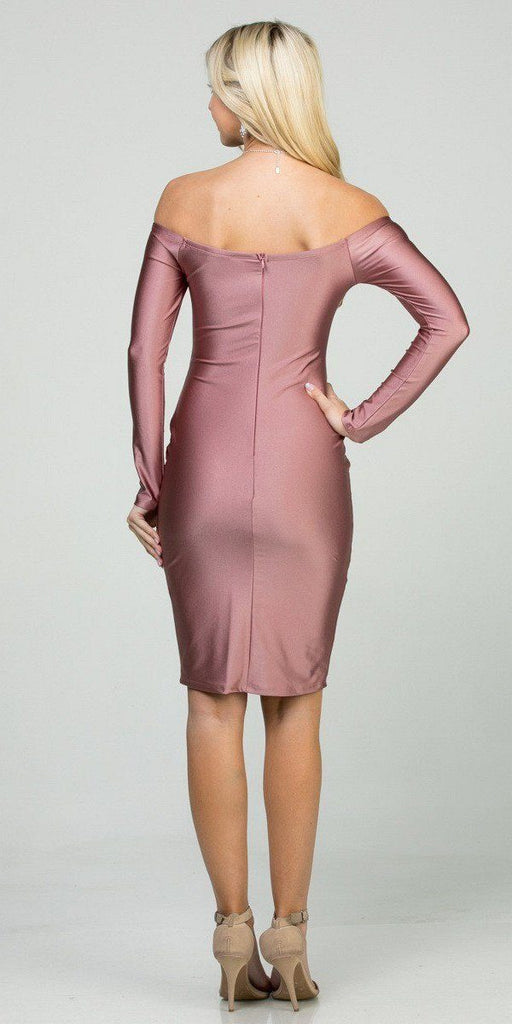 Long Sleeved Off-Shoulder Cocktail Short Dress Rose