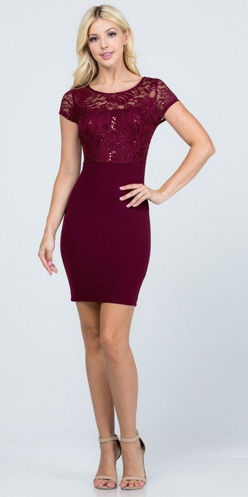 Short Pencil Dress Burgundy Short Sleeve Lace Top Form Fit