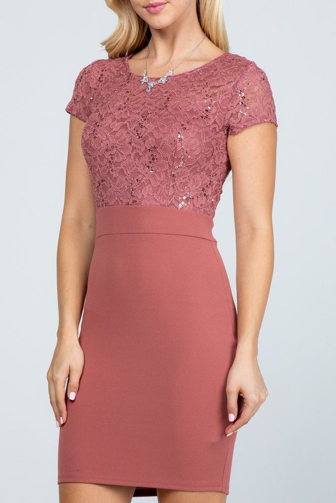 Short Pencil Dress Dark Mauve Short Sleeve Lace Top Form Fit