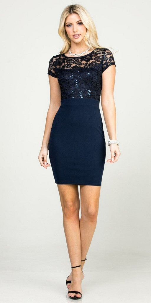 Short Pencil Dress Navy Blue Short Sleeve Lace Top Form Fit