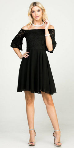 Double Ruffle Sleeve Fit and Flare Black Dress Off The Shoulder