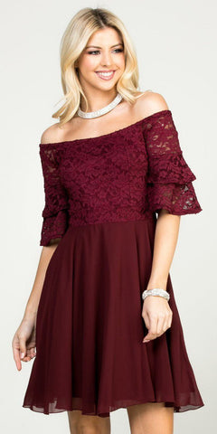 Double Ruffle Sleeve Fit and Flare Burgundy Dress Off The Shoulder